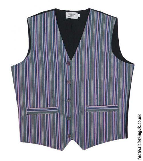 Striped-Cotton-Festival-Waistcoat-Green-Blue