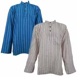Striped Collarless Grandad Shirts