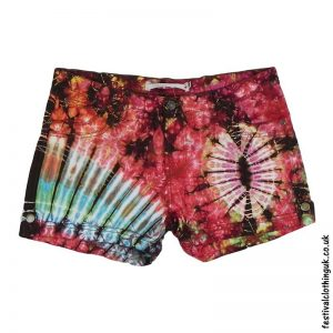Tie-Dye-Denim-Festival-Shorts-Red