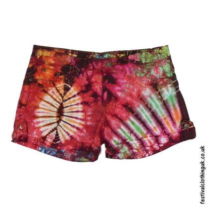 Tie-Dye-Denim-Festival-Shorts-Red