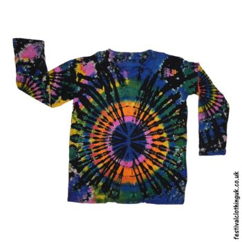 Tie-Dye-Long-Sleeve-Festival-T-Shirt-Black