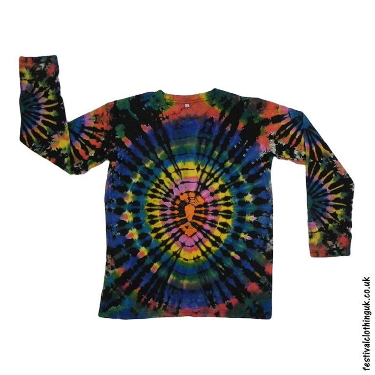 Tie-Dye-Long-Sleeve-Festival-T-Shirt-Black