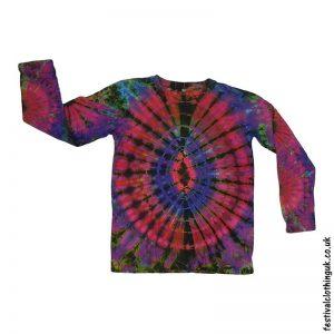 Tie-Dye-Long-Sleeve-Festival-T-Shirt-Pink