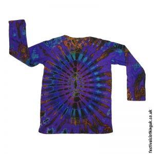 Tie-Dye-Long-Sleeve-Festival-T-Shirt-Purple