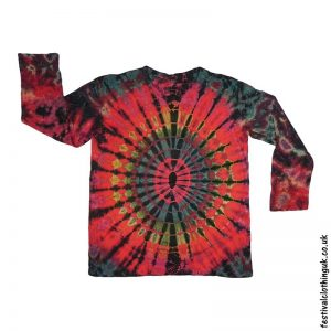 Tie-Dye-Long-Sleeve-Festival-T-Shirt-Red