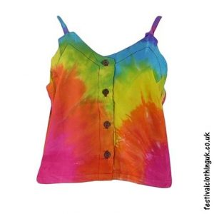 Tie-Dye-Rayon-Button-Festival-Crop-Top