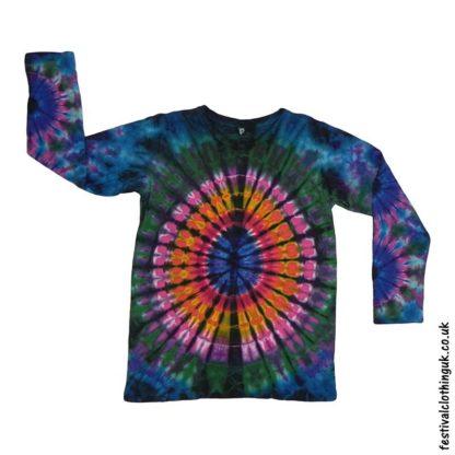 Tie-Dye-Long-Sleeve-Festival-T-Shirt-Blue