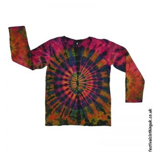 Tie-Dye-Long-Sleeve-Festival-T-Shirt-Red