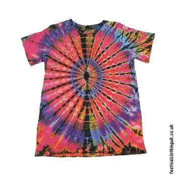 Tie-Dye-Short-Sleeve-Festival-T-Shirt-Pink-1
