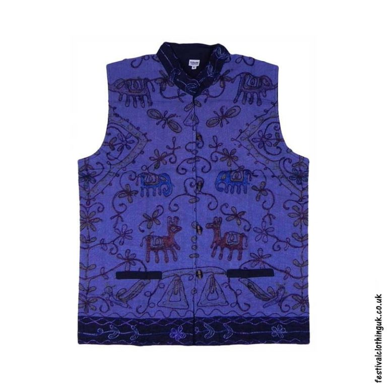 Collared-Embroidery-Waistcoat-Blue