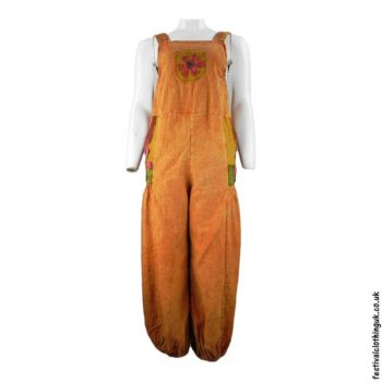 Festival-Dungarees-with-Flower-Design-Orange