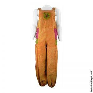 Festival-Dungarees-with-Flower-Design-Orange