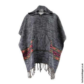 Festival Hooded Poncho Black