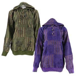 Overdyed Patchwork Hooded Tops