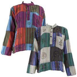 Patchwork Collarless Shirts