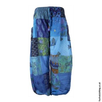 Blue-Patchwork-Harem-Festival-Pants