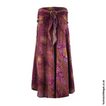 Burgundy-Peacock-Feather-Festival-Skirt