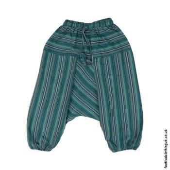 Kids-Green-Striped-Ali-Baba-Harem-Festival-Trousers