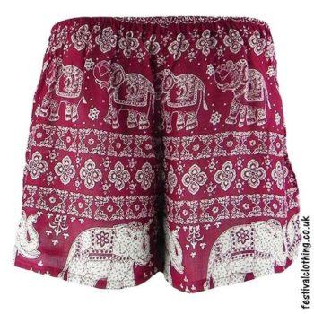 Ladies-Elephant-Festival-Shorts-Burgundy