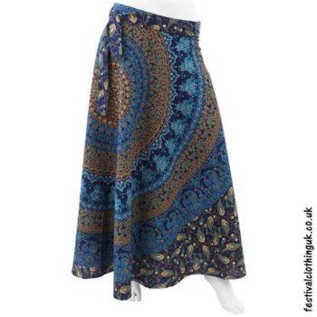 Long-Cotton-Throw-Festival-Wrap-Skirt-Blue