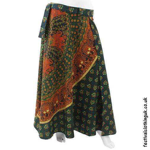 Long-Cotton-Throw-Festival-Wrap-Skirt-Green