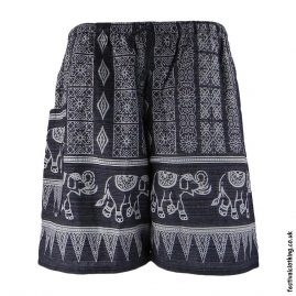 Long-Elephant-Print-Cotton-Festival-Shorts-Black