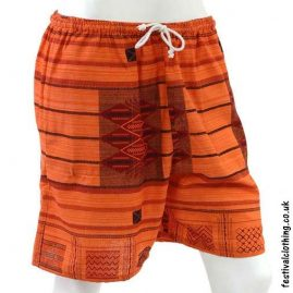 Long-Orange-Cotton-Festival-Shorts