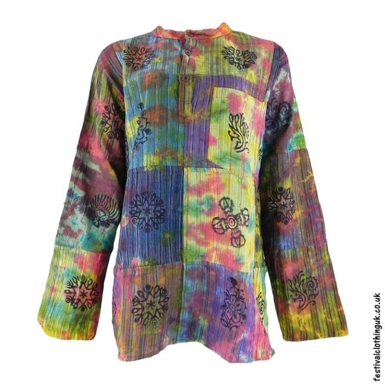 Patchwork-Tie-Dye-Grandad-Shirt