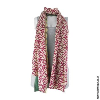 Recycled-Indian-Sari-Festival-Scarf-Cream-and-Red