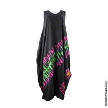 Tie-Dye-Cotton-Festival-Drape-Dress-Black