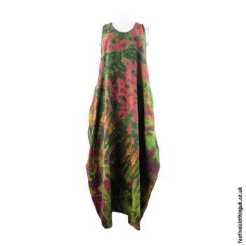 Tie-Dye-Cotton-Festival-Drape-Dress-Green