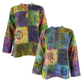 Tie Dye Patchwork Grandad Shirts