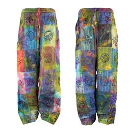 Patchwork Trousers with Tie Dye