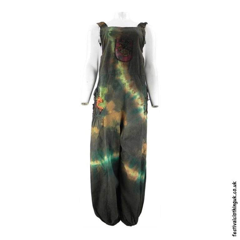 Festival-Tie-Dye-Dungarees-Green