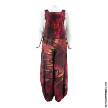 Festival-Tie-Dye-Dungarees-Red