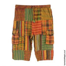 Orange-Green-Cotton-Patchwork-Long-Festival-Shorts