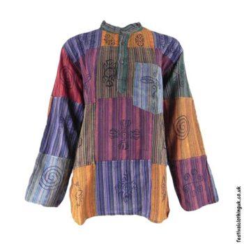 Patchwork-Festival-Collarless-Grandad-Shirt