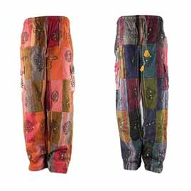 Patchwork Thick Cotton Trousers