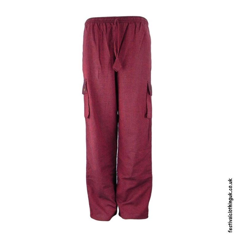 Plain Festival Cargo Trousers Burgundy