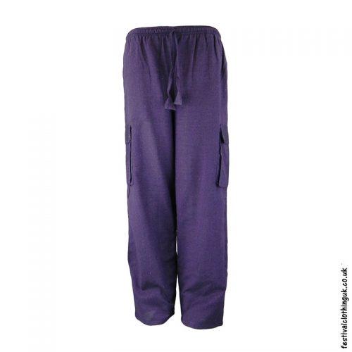 Plain Festival Cargo Trousers Purple