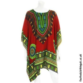 Short-Rayon-Dashiki-Festival-Kaftan-Red