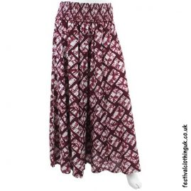 Wide Leg Festival Trousers Maroon