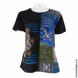 Black-Short-Sleeve-Patchwork-Festival-Top