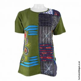 Green-Short-Sleeve-Patchwork-Festival-Top