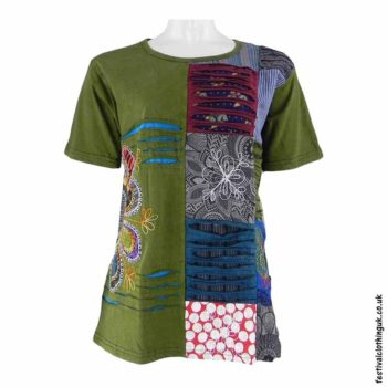 Green-Short-Sleeve-Patchwork-Festival-Top