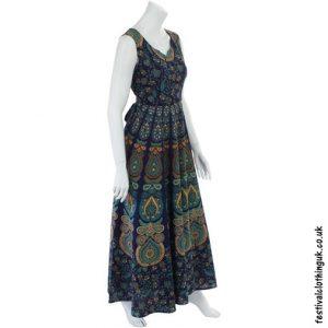 Long Cotton Throw Maxi Dress Blue
