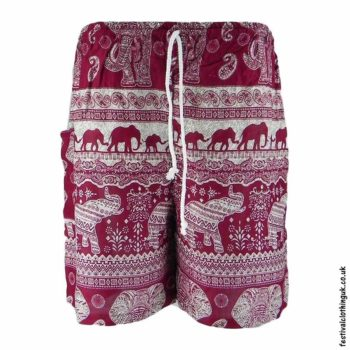 Male-Elephant-Festival-Long-Shorts-Burgundy