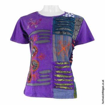 Purple-Short-Sleeve-Patchwork-Festival-Top