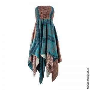 Teal-Pixie-Hem-2-in-1-Recycled-Sari-Festival-Dress