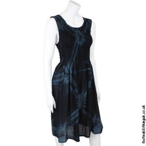Black Dress with Blue Tie Dye Design